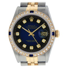 Rolex Men's Datejust SS and 18 Karat Gold Blue Vignette Diamond Dial Sapphire