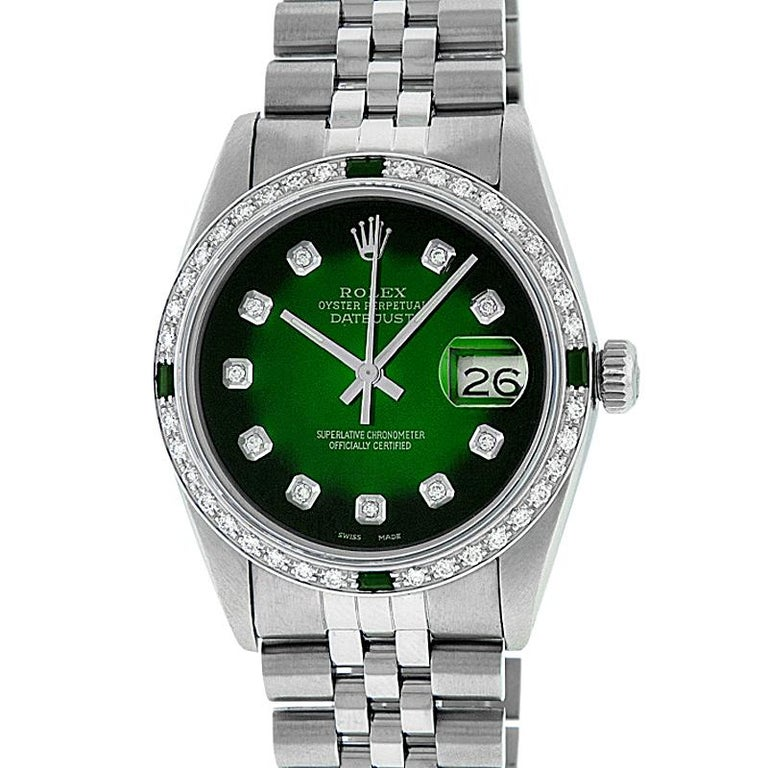 WATCH DESCRIPTION   BRAND : Rolex MODEL : Datejust CASE SIZE : 36mm GENDER : Men's CASE : Rolex Stainless Steel Case  WATCH FEATURES   DIAL : Rolex Professionally Custom Refinished Green Vignette with Aftermarket Genuine Round Diamond Hour