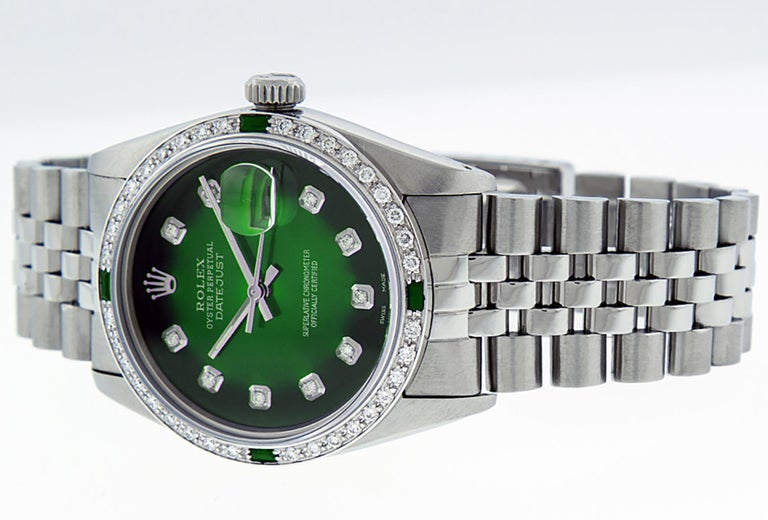 Round Cut Rolex Men's Datejust SS and 18 Karat Gold Green Diamond and Emerald Watch For Sale