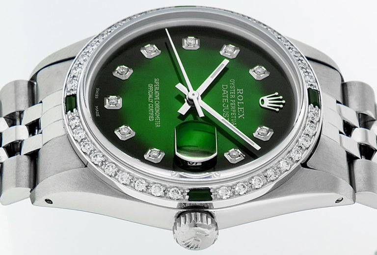 Rolex Men's Datejust SS and 18 Karat Gold Green Diamond and Emerald Watch In Good Condition For Sale In Los Angeles, CA