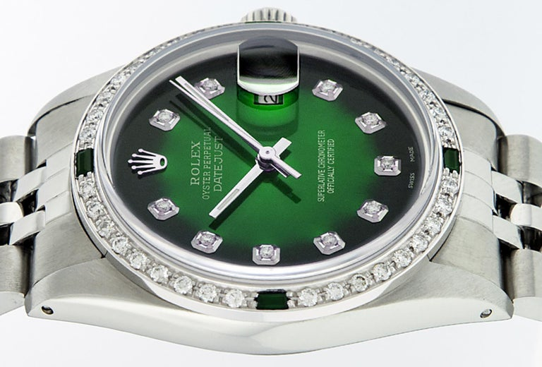 Women's or Men's Rolex Men's Datejust SS and 18 Karat Gold Green Diamond and Emerald Watch For Sale