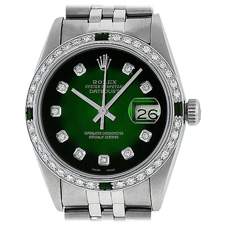 Rolex Men's Datejust SS and 18 Karat Gold Green Diamond and Emerald Watch For Sale