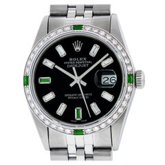 Rolex Men's Datejust SS and 18 Karat White Gold Black Diamond Dial Emerald Bezel