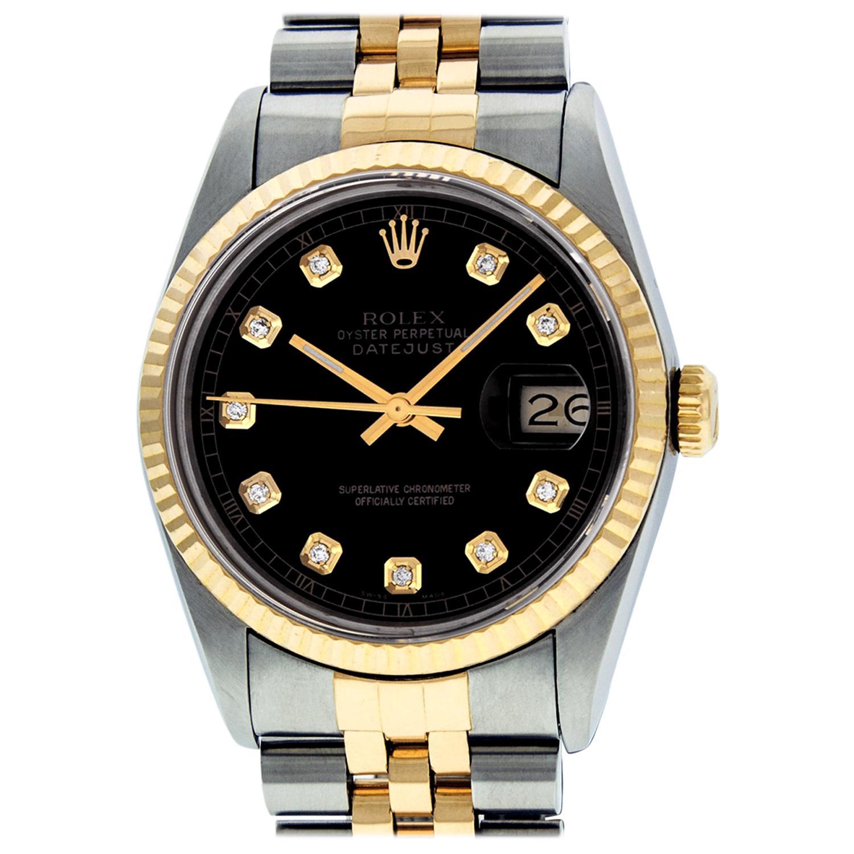 Rolex Men's Datejust SS and 18 Karat Yellow Gold Black Diamond Watch