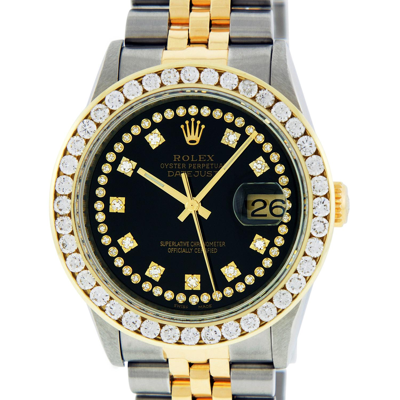 Rolex Men's Datejust SS and 18 Karat Yellow Gold Black String Diamond Dial