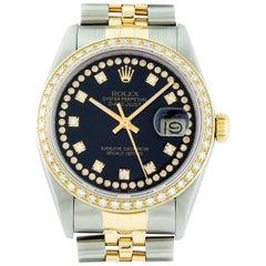 Rolex Men's Datejust SS and 18 Karat Yellow Gold Black String Diamond Wristwatch