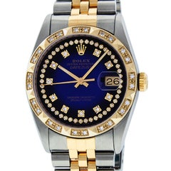 Rolex Men's Datejust SS and 18 Karat Yellow Gold Blue String Diamond Dial
