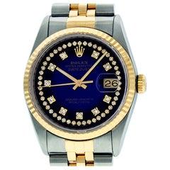 Rolex Men's Datejust SS and 18 Karat Yellow Gold Blue Vignette Diamond Watch