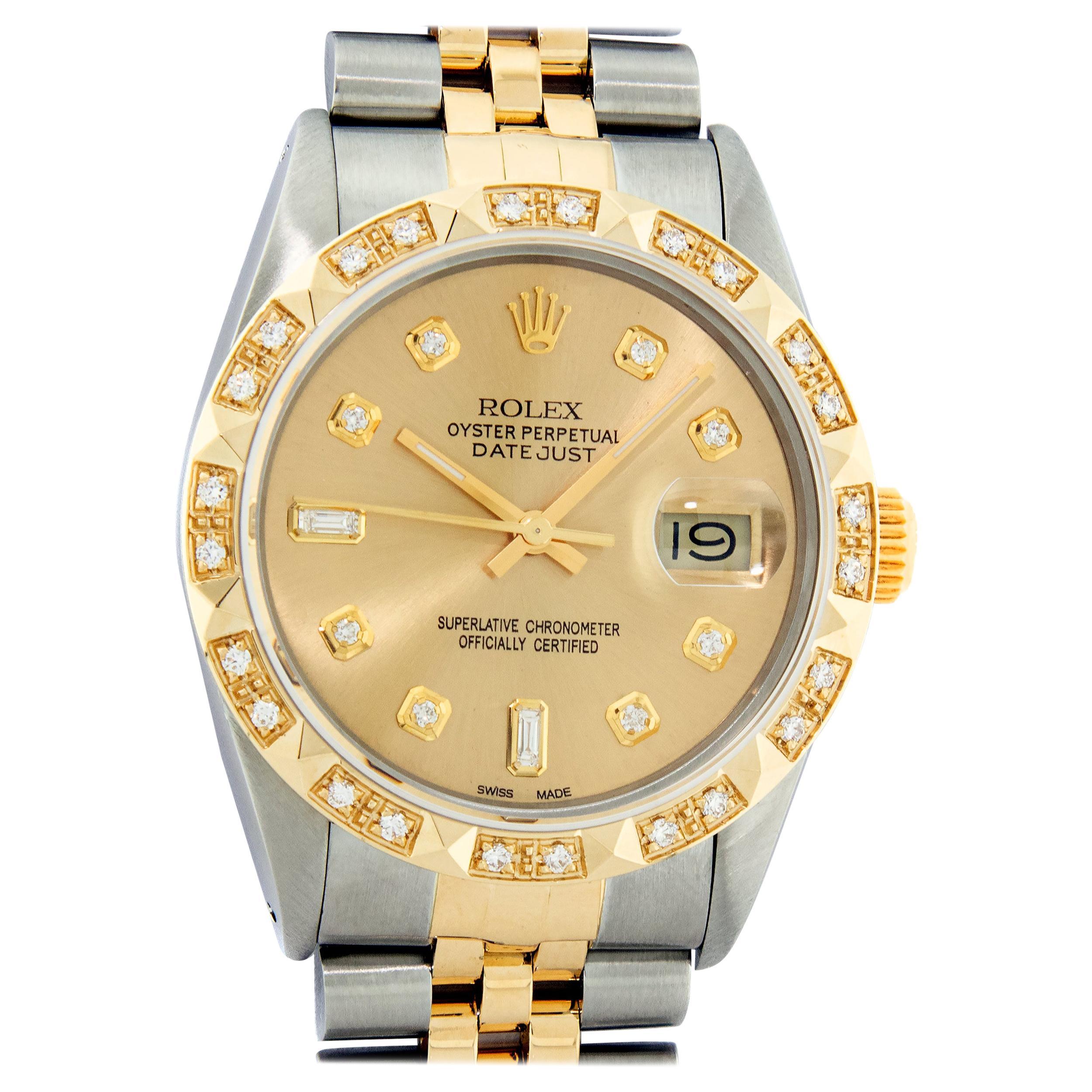 Rolex Men's Datejust SS and 18 Karat Yellow Gold Champagne Diamond Watch