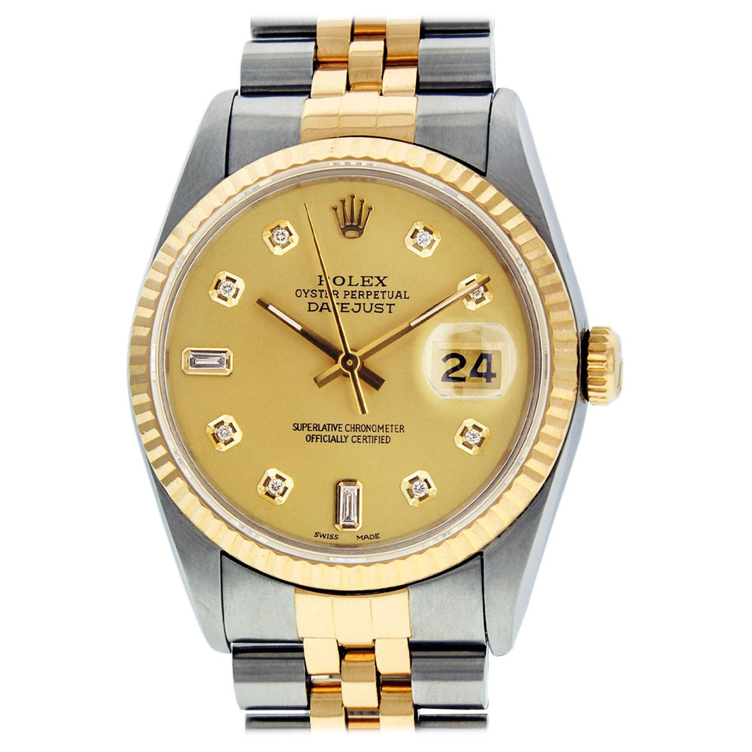 Rolex Men's Datejust SS and 18 Karat Yellow Gold Champagne Diamond Watch
