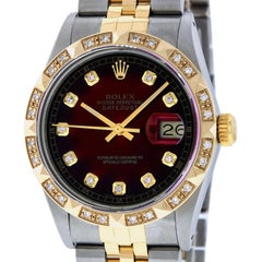 Rolex Men's Datejust SS and 18 Karat Yellow Gold Green Vignette Diamond Dial