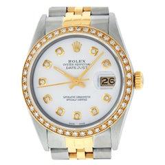 Rolex Men's Datejust SS and 18 Karat Yellow Gold MOP Diamond Datejust Wristwatch