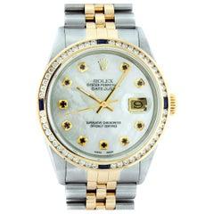 Rolex Men's Datejust SS and 18 Karat Yellow Gold MOP Sapphire Diamond Watch