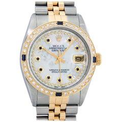 Rolex Men's Datejust SS and 18 Karat Yellow Gold MOP String Diamond Wristwatch