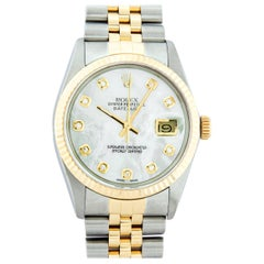 Rolex Men's Datejust SS and 18 Karat Yellow Gold Mother of Pearl Diamond Watch
