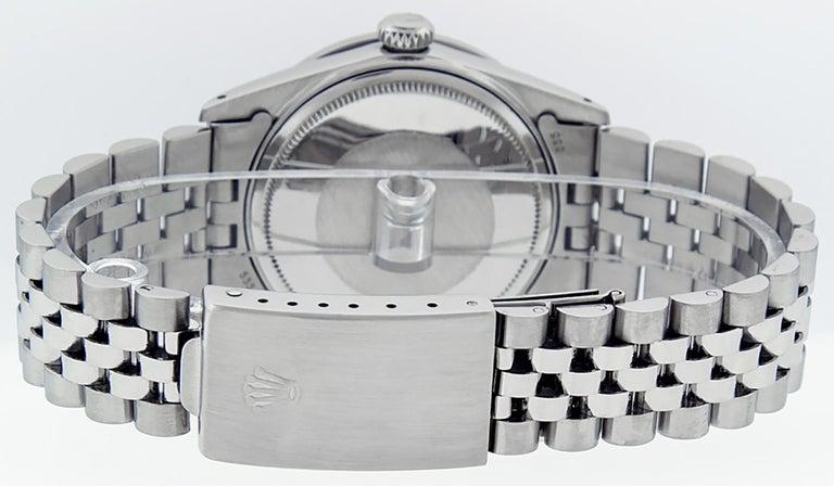 Round Cut Rolex Men's Datejust Stainless Steel Black Diamond Watch For Sale