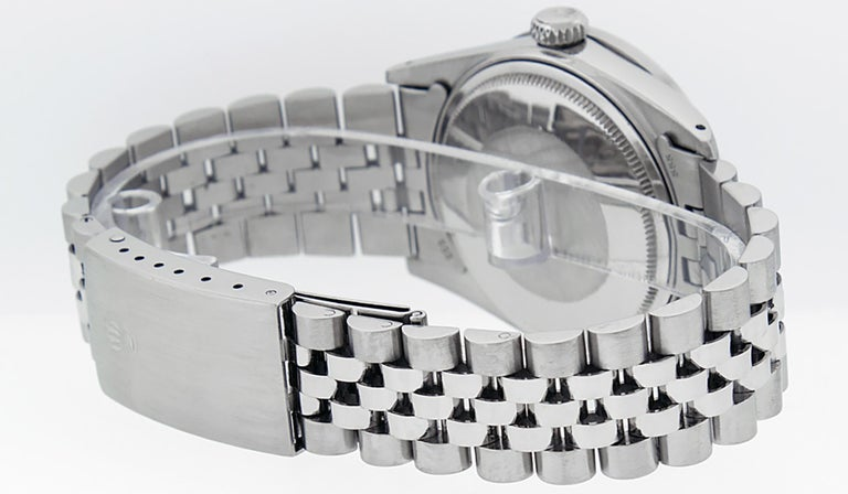 Rolex Men's Datejust Stainless Steel Black Diamond Watch In Good Condition For Sale In Los Angeles, CA