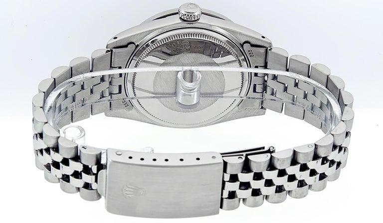 Rolex Men's Datejust Stainless Steel Black Diamond Watch For Sale 2
