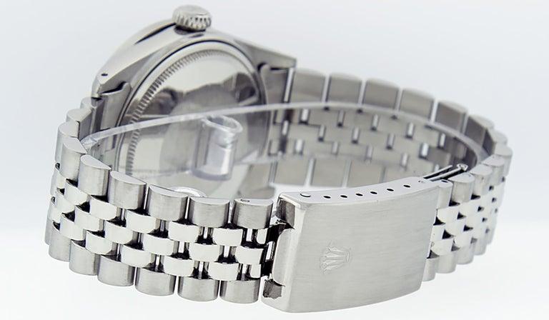 Rolex Men's Datejust Stainless Steel Black Diamond Watch For Sale 3