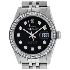 Rolex Men's Datejust Stainless Steel Black Diamond Watch