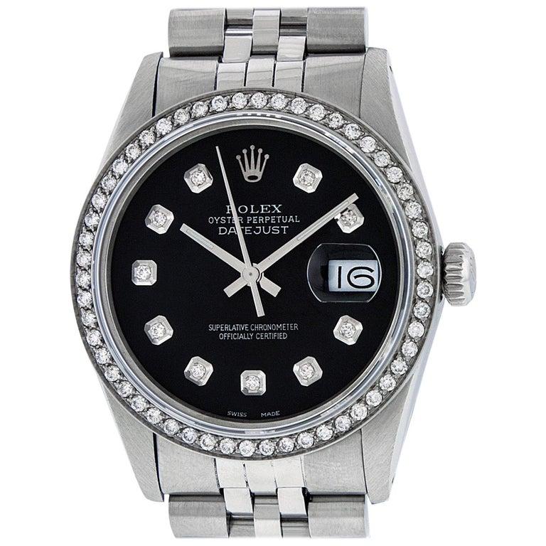 Rolex Men's Datejust Stainless Steel Black Diamond Watch For Sale