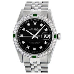 Rolex Men's Datejust SS and 18K White Gold Black Diamond Watch