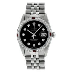 Rolex Men's Datejust SS and 18K White Gold Black Diamond Watch Ruby Bezel
