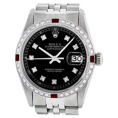 Rolex Men's Datejust SS & 18K White Gold Black Diamond Watch Ruby Bezel