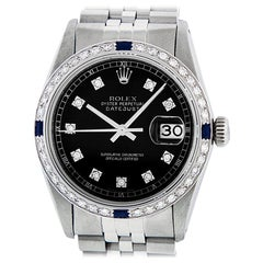 Rolex Men's Datejust SS & 18K White Gold Black Diamond Watch Sapphire Bezel