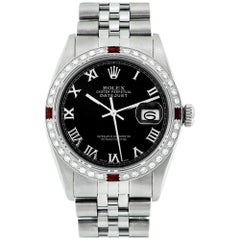 Rolex Men's Datejust SS and 18K White Gold Black Roman Dial Diamond Watch