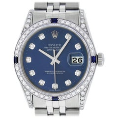 Rolex Men's Datejust SS and 18K White Gold Blue Diamond Watch Sapphire Bezel