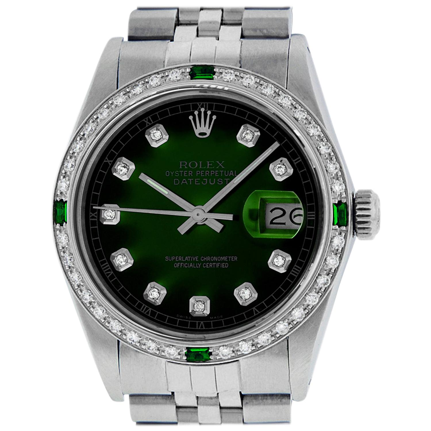 Rolex Men's Datejust SS and 18K White Gold Green Vignette Diamond Watch Emerald