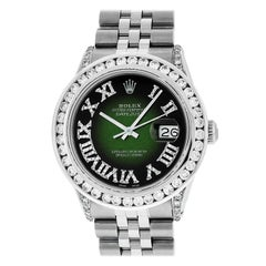 Rolex Men's Datejust SS Green Vignette Diamond Watch