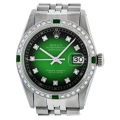 Rolex Men's Datejust SS and 18K White Gold Green Vignette Diamond Watch