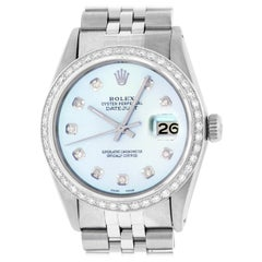 Rolex Men's Datejust SS and 18K White Gold Ice Blue Diamond Watch