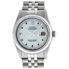 Rolex Men's Datejust SS MOP Emerald String Diamond Fluted Bezel Watch
