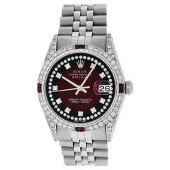 Rolex Men's Datejust SS and 18K White Gold Red Vignette Diamond Watch Ruby Bezel
