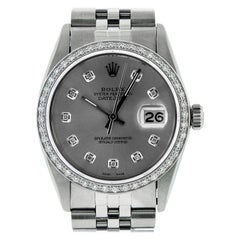 Rolex Men's Datejust SS & 18K White Gold Slate Grey Diamond Watch