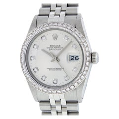 Rolex Men's Datejust SS and 18K White Gold Silver Diamond Watch