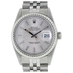Rolex Men's Datejust Stainless Steel Silver Index Watch Engine Turn Bezel