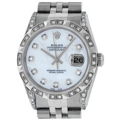 Rolex Men's Datejust SS / 18K White Mother of Pearl Diamond Watch Pyramid Bezel