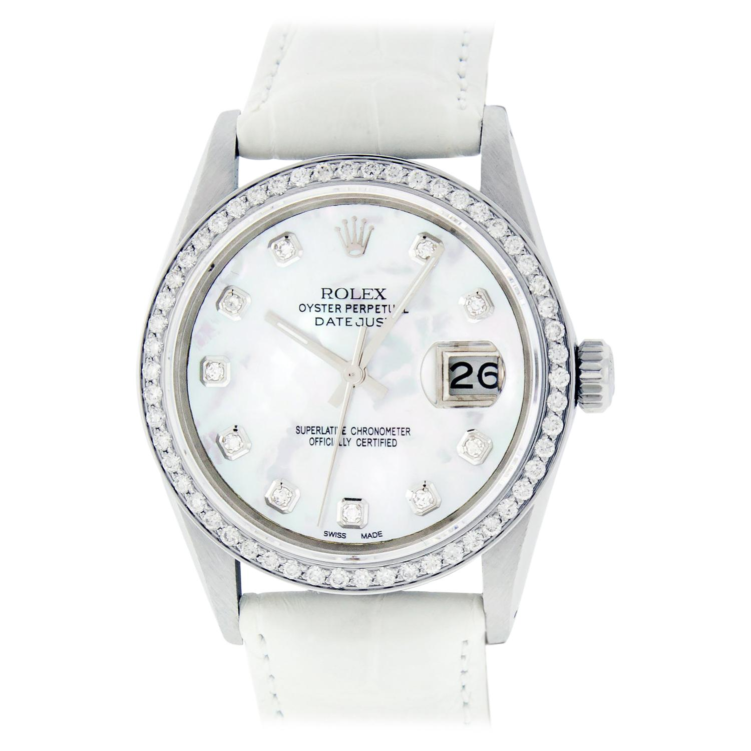 Rolex Men's Datejust Stainless Steel White Mother of Pearl Diamond Watch