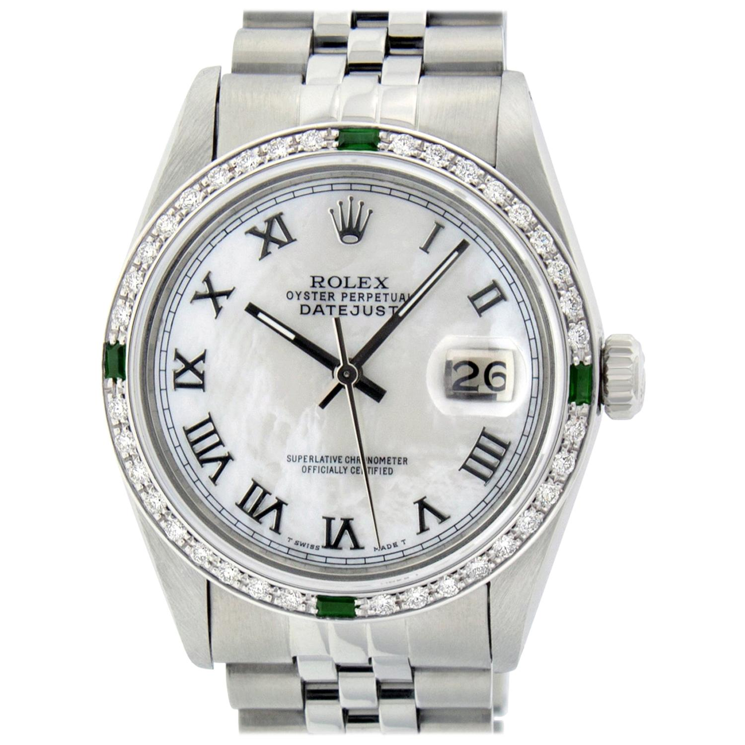 Rolex Men's Datejust SS and 18K White MOP Roman Dial Watch Diamond Bezel Emerald