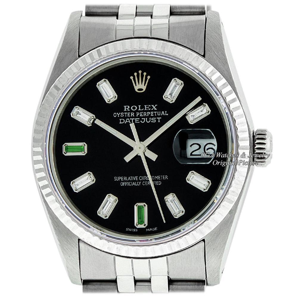 Rolex Men's Datejust Stainless Steel Black Baguette Diamond Fluted Bezel Watch