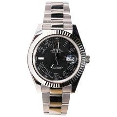 Rolex Men's Datejust Stainless Steel Black Roman Numeral Fluted Bezel Watch