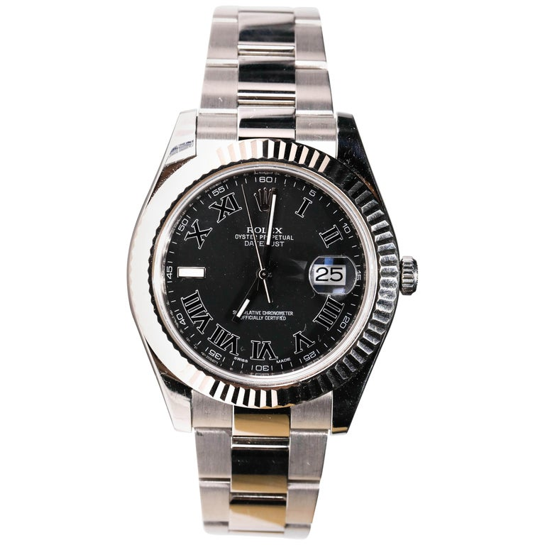 Rolex Men's Datejust Stainless Steel Black Roman Numeral Fluted Bezel Watch For Sale