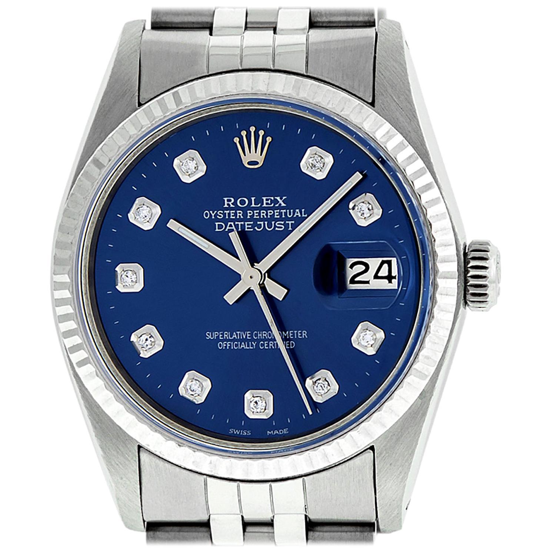 Rolex Men's Datejust Stainless Steel Blue Diamond Fluted Bezel Watch