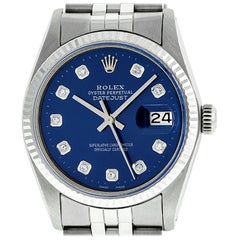Rolex Men's Datejust Stainless Steel Blue Diamond Fluted Bezel Watch