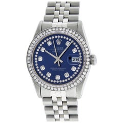 Rolex Men's Datejust Stainless Steel Blue String Diamond Wristwatch