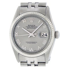 Rolex Men's Datejust Stainless Steel Gray Roman Fluted Bezel Watch